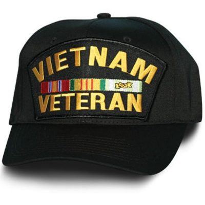 Vietnam Veteran with Ribbons Black Hat with Gold writing