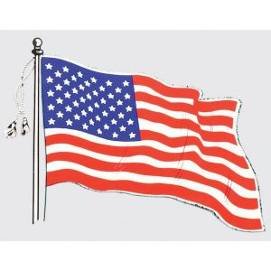 Wavy American Flag Window Decal