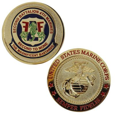 2nd Battalion 4th Marines Red Inlay Text Coin