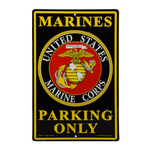 Black Marines Parking Only Sign