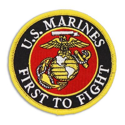 Black and Yellow US Marines First To Fight Round Patch