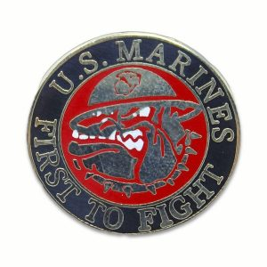 Black and Red US Marines First To Fight Devil Dog Pin