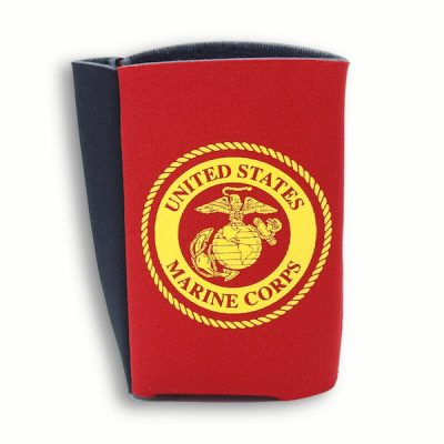 Red Koozie with Gold United States Marines Corps