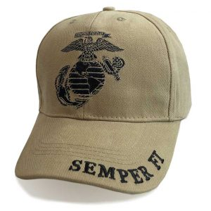 Marine Khaki Hat with Semper Fi embroidered