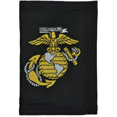 USMC Black Wallet with Eagle Globe and Anchor