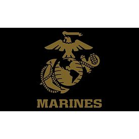 Marines Black Flag with gold eagle globe and anchor