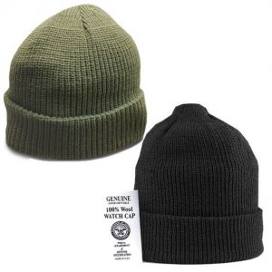 Military black and green wool watchcaps