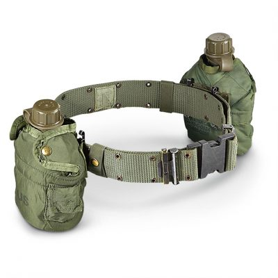 usmc pistol belt with canteens attached
