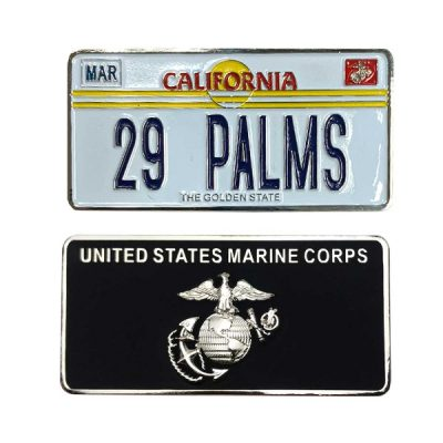 Marine Corps License Plate 29 Palms Coin