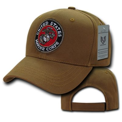 USMC Embroidered Seal Coyote Cap Back