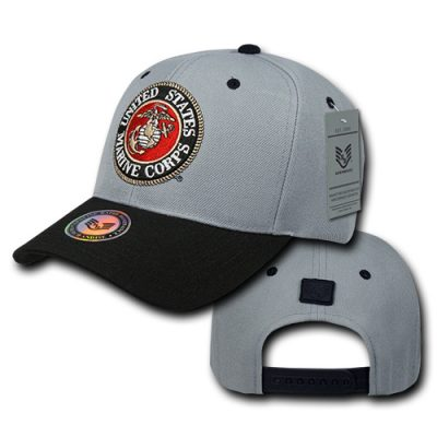 USMC Embroidered Seal Gray Cap Back