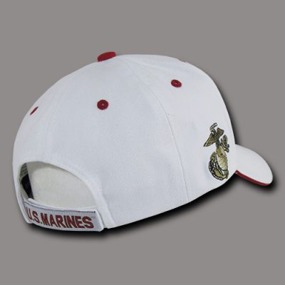 USMC Embroidered Seal White Cap Back