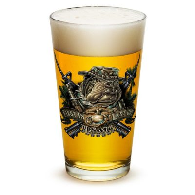 USMC First In Last Out Devil Dog Pint Glass
