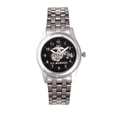 Marine Corps EGA Watch with Black Face & Stainless Steel Strap