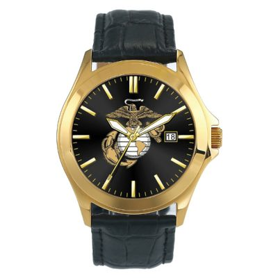 U.S. Marines Gold Watch with Leather Strap